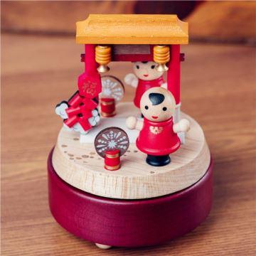 Jeancard台湾木质旋转八音盒音乐盒元旦新年创意礼物送孩子儿童特别