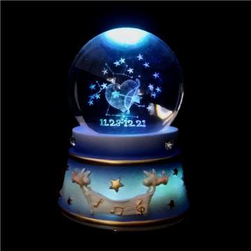 WSA万山十二星座旋转带灯水晶球八音盒音乐盒创意生日礼物天空之城