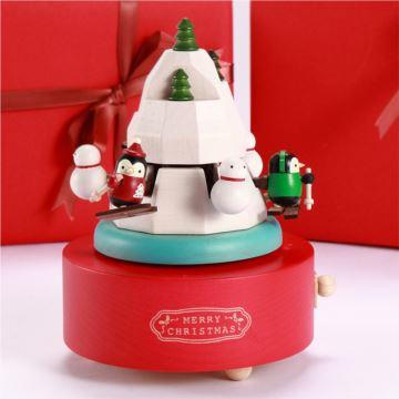 Jeancard台湾木质旋转且滑雪八音盒音乐盒创意生日情人节礼物送男女生