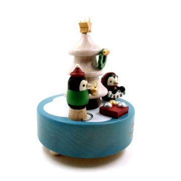 Jeancard台湾木质旋转企鹅圣诞树八音盒音乐盒创意生日新年礼物送男女