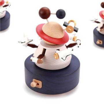 台湾Jeancard太空飞行旋转木质八音盒音乐盒创意生日情人节礼物送男女生