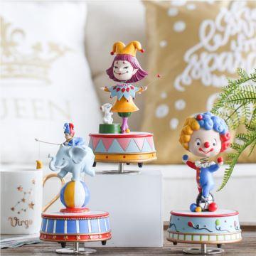 ILOVEST马戏团摇头小丑旋转树脂八音盒音乐盒创意生日送女生礼物