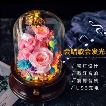 发光带灯永生花木质八音盒音乐盒创意生日结婚情人节礼物送男女生浪漫
