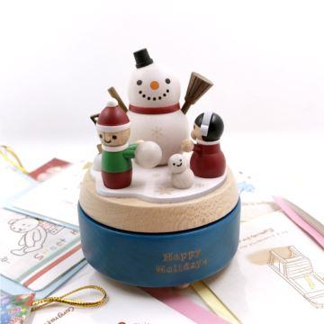 台湾Jeancard枫木木质堆雪人旋转八音盒音乐盒创意生日圣诞节礼物限量版