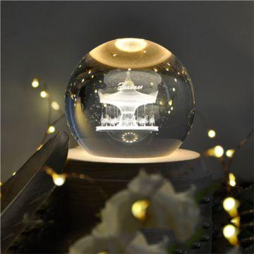 DIY刻字带灯发光旋转木马水晶球八音盒音乐盒创意生日情人节礼物送男女