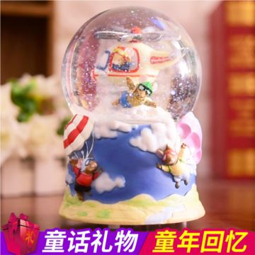 旋转飘雪花带灯水晶球八音盒音乐盒创意生日情人节礼物送男女生特别