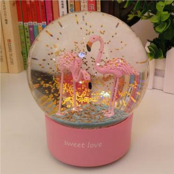 ILOVEST18音旋转发光飘雪花火烈鸟水晶球八音盒音乐盒创意生日情人节礼物送女生