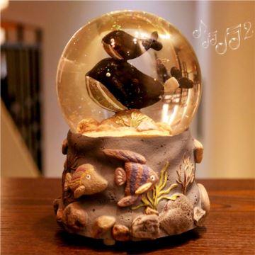 ILOVEST18音自动飘雪花旋转鲸鱼水晶球音乐盒八音盒创意生日圣诞节礼物送男女