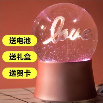 飘雪花发光水晶球八音盒音乐盒创意生日情人节结婚礼物送男女浪漫