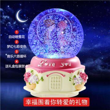 自动飘雪花炫彩灯旋转水晶球八音盒音乐盒创意生日情人节礼物送男女浪漫