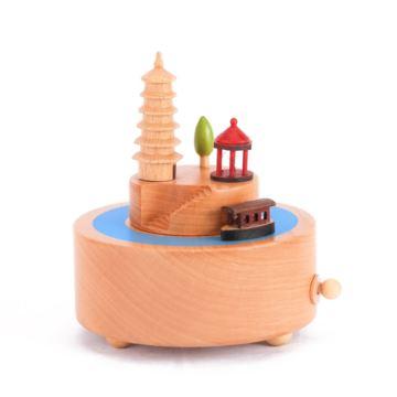 DIY刻字定制木质旋转小船八音盒音乐盒天空之城创意生日礼物送男女生
