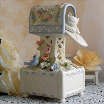 美国COSMOS陶瓷猫咪邮箱八音盒音乐盒创意生日七夕情人节礼物送男女