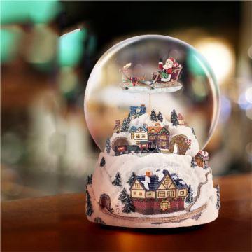 赞尔Jarll旋转火车圣诞老人飘雪花水晶球八音盒创意生日情人节圣诞节礼物