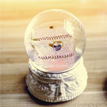 JARLL水晶球音乐盒八音盒带雪花生日礼物送女生爱人钟爱一生戒指