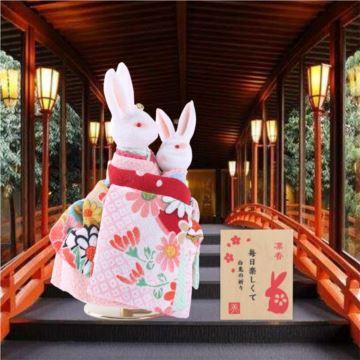日本小樽旋转和服兔子八音盒音乐盒创意生日礼物送小孩周岁纪念品