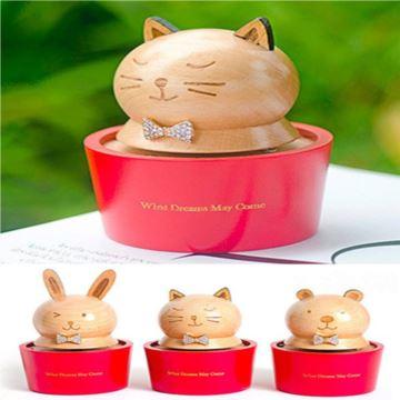 木质旋转杯子猫咪熊兔八音盒音乐盒天空之城创意生日儿童节礼物送男女生