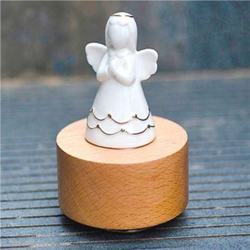 木质底座陶瓷天使旋转八音盒音乐盒天空之城创意生日情人节礼物送男女生