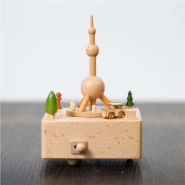 DIY刻字木质上海东方明珠旋转汽车八音盒音乐盒天空之城创意生日礼物
