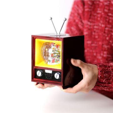 飘雪花带灯电视机圣诞老人水晶球八音盒音乐盒创意圣诞节生日礼物特别