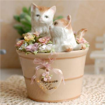 陶瓷情侣猫咪八音盒音乐盒创意生日结婚七夕情人节礼物送男女生高档