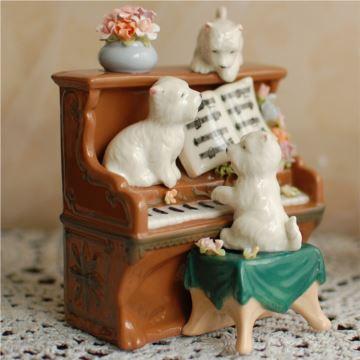 陶瓷狗狗弹琴八音盒音乐盒创意生日情人节礼物家居摆件特别