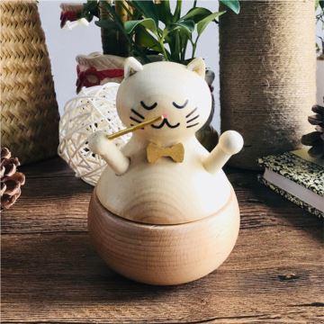 木质猫咪旋转八音盒音乐盒卡农创意生日礼物送朋友闺蜜刻字特别