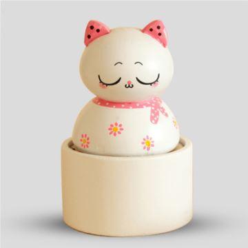 木质猫咪旋转八音盒音乐盒创意生日情人节礼物送闺蜜朋友奇特别