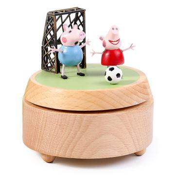 木质旋转小猪佩奇八音盒音乐盒创意生日儿童节礼物送男女生特别可刻字