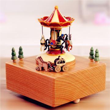 木质旋转木马水滴娃娃八音盒音乐盒创意生日情人节礼物送男女生可刻字