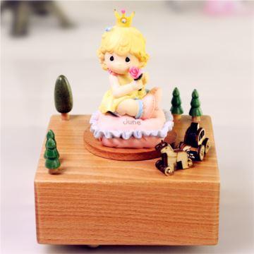 花木公主木质八音盒音乐盒创意生日情人节儿童节礼物送男女生刻字定制