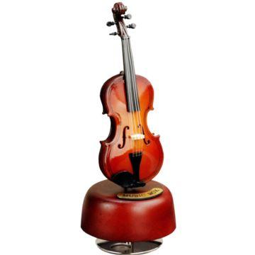 旋转小提琴木质八音盒音乐盒创意生日礼物送男女朋友浪漫特别家居摆件