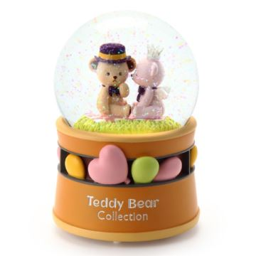 泰迪情侣旋转飘雪花带灯旋转水晶球八音盒音乐盒创意情人节结婚礼物