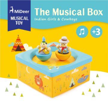 木质旋转跳舞麋鹿八音盒音乐盒创意生日六一儿童节礼物送男女生特别