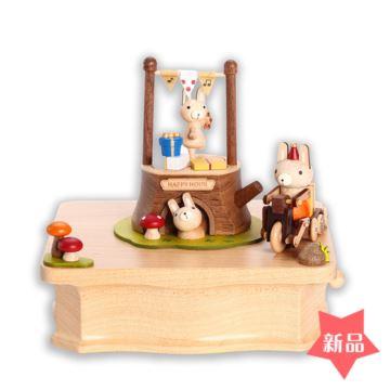 Jeancard木质旋转八音盒音乐盒创意生日儿童节礼物动物森林聚会