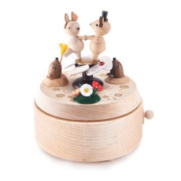 Jeancar枫木木质旋转兔子跳舞八音盒音乐盒创意生日礼物送女生女友