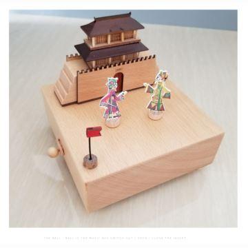 木质皮影戏人偶旋转八音盒音乐盒天空之城创意生日情人节礼物送男女生