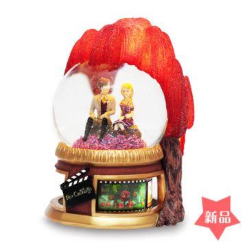 JARLL旋转自喷雪花带灯水晶球灰姑娘八音盒音乐盒创意结婚情人节礼物