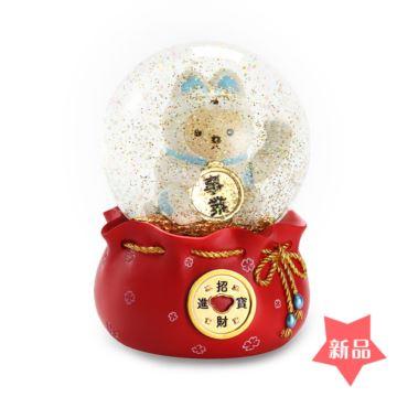 飘亮片雪花招财猫水晶球八音盒音乐盒圣诞节乔迁开业典礼创意礼物特别