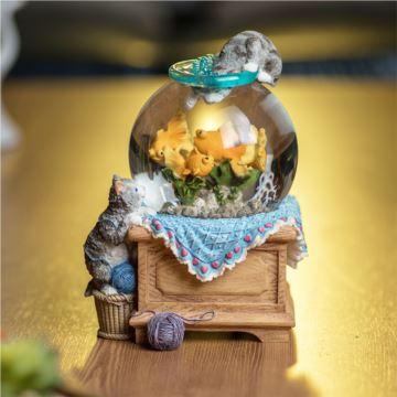 Jarll旋转水晶球八音盒音乐盒猫爪鱼创意结婚情人节礼物送男女朋友