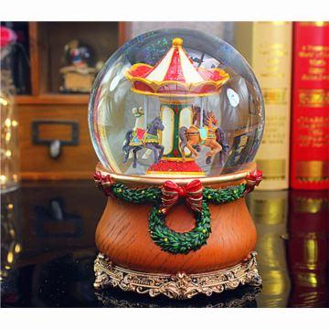飄亮片雪花旋轉木馬水晶球八音盒音樂盒圣誕節萬圣節生日創意禮物