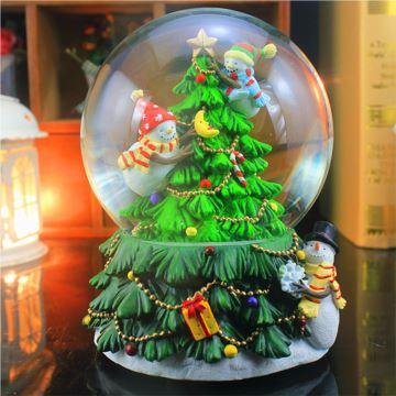 飄雪花旋轉帶燈圣誕樹水晶球八音盒創意生日圣誕節萬圣節禮物送兒童女生