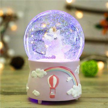 飘雪花发光旋转水晶球八音盒音乐盒天空之城创意生日情人节礼物送女生