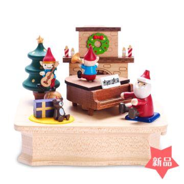Jeancard木质圣诞老人弹琴旋转八音盒音乐盒创意生日圣诞节礼物