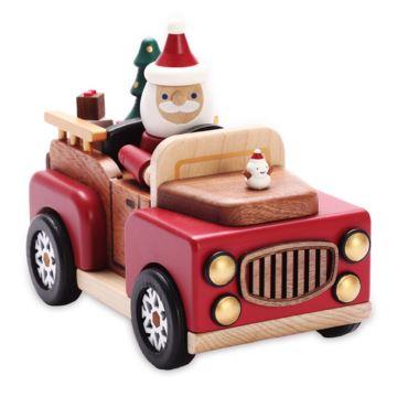 Jeancard木质圣诞老人开车八音盒音乐盒创意生日圣诞节礼物送男女生