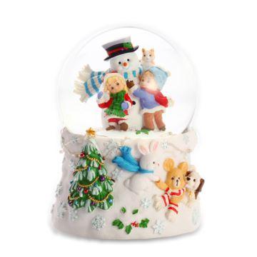 Jarll自喷雪花带灯旋转圣诞老人与小孩水晶球八音盒音乐盒圣诞节创意礼物