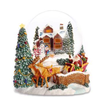 Jarll自飘雪花带灯圣诞雪屋水晶球八音盒音乐盒创意圣诞节情人节新年礼物