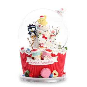 Jarll自喷亮片带灯hellokitty圣诞雪人水晶球八音盒音乐盒创意生日圣诞节礼物