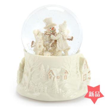 Jarll旋转飘雪花带灯雪人水晶球八音盒音乐盒圣诞节情人节生日创意礼物