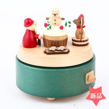 Jeancard木质旋转雪人蛋糕八音盒音乐盒圣诞节情人节生日创意礼物刻字