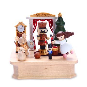 Jeancard台湾木质旋转八音盒音乐盒芭蕾舞女孩胡桃夹子圣诞节情人节礼物